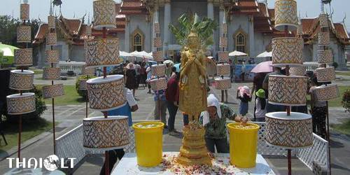 Songkran in Thai temple